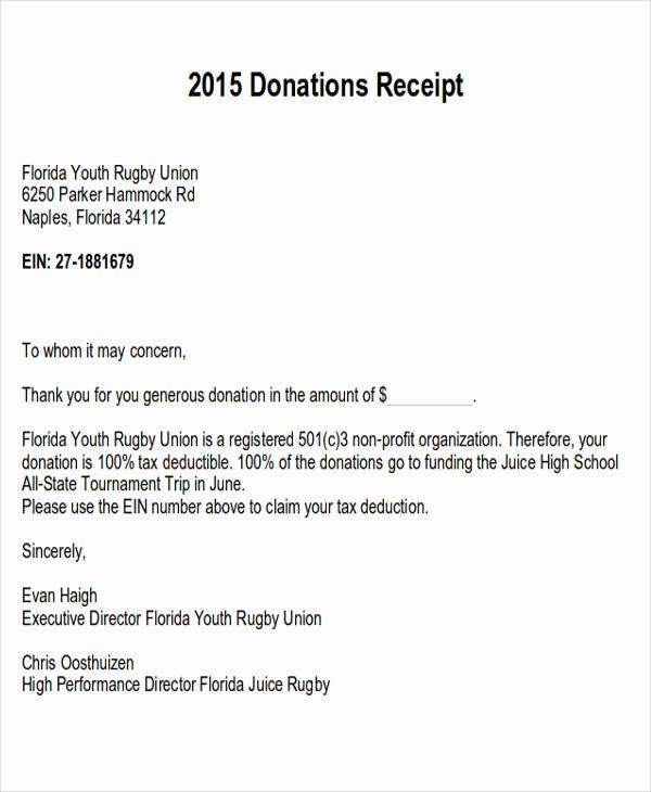 Donation Receipt Letter Templates Lovely Sample Donation Letter