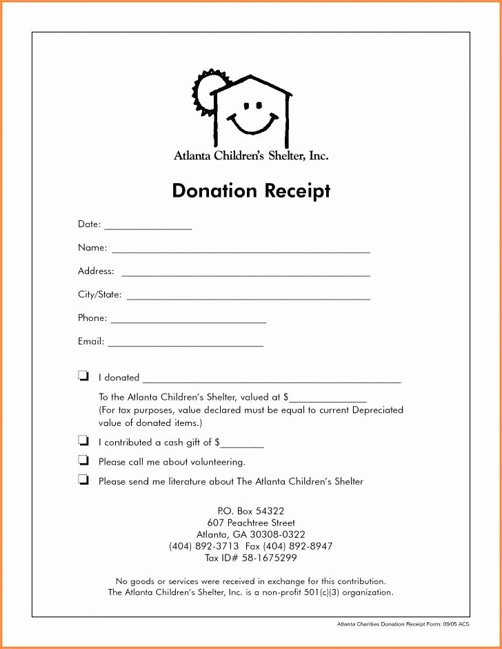 Donation Receipt Template for 501c3 Beautiful 501c3 Donation form Template Donation Receipt Template