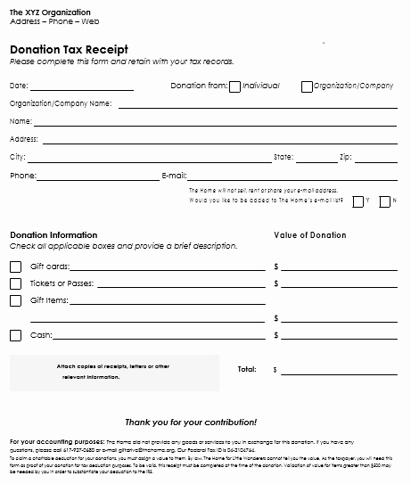 Donation Receipt Template for 501c3 Elegant Donation Receipt Template 12 Free Samples In Word and Excel