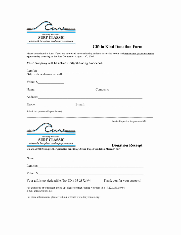 Donation Receipt Template for 501c3 Elegant form In Kind Donation form