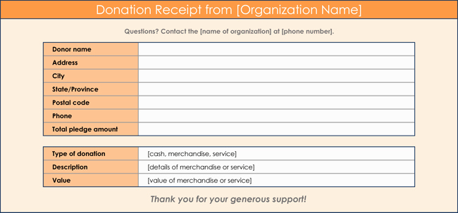 Donation Receipt Template Word Awesome Donation Receipt Template 12 Free Samples In Word and Excel