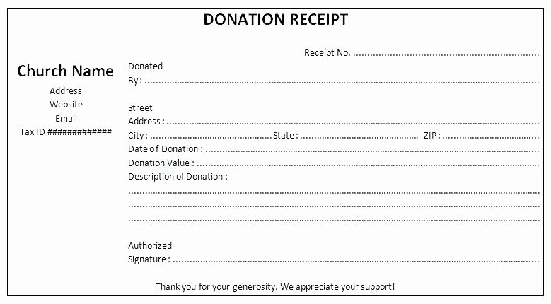 Donation Receipt Template Word Fresh Year End Donation Receipt Template