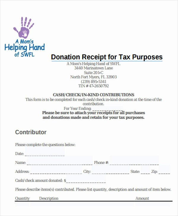 Donation Tax Receipt Template Fresh 7 Tax Receipts for Donation