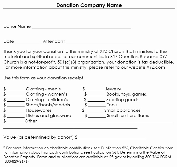 Donation Tax Receipt Template New Donation Receipt Template 12 Free Samples In Word and Excel