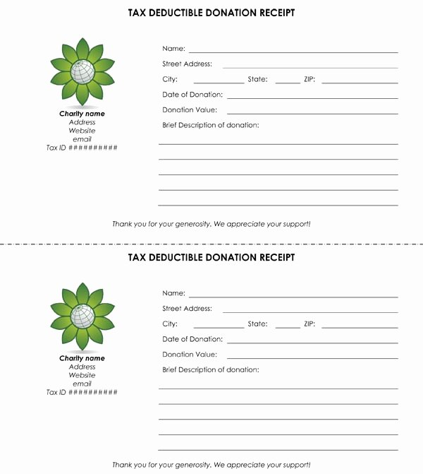 Donation Tax Receipt Template New Tax Deductible Donation Receipt