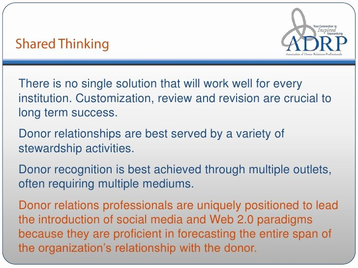 Donor Stewardship Plan Template New Adrp Webinar the Virtual Donor Wall