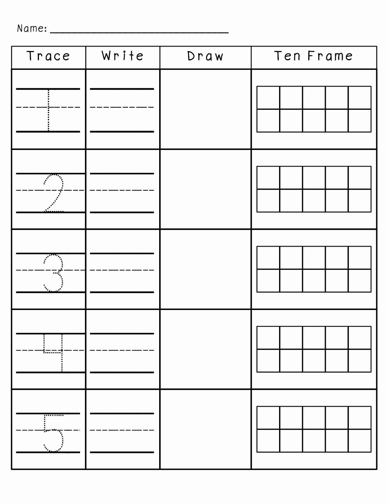 Double Ten Frame Template Lovely Number Practice 1 10 Trace Write Draw Fill In Ten