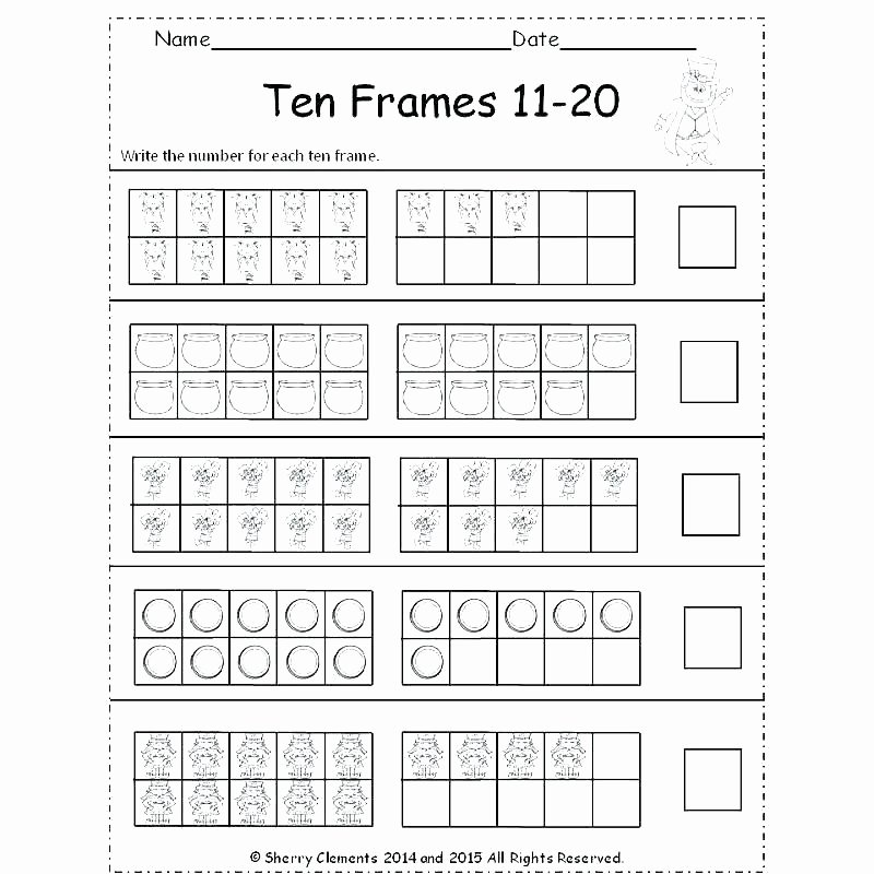 Double Ten Frame Template Unique Ten Frame Addition Worksheets