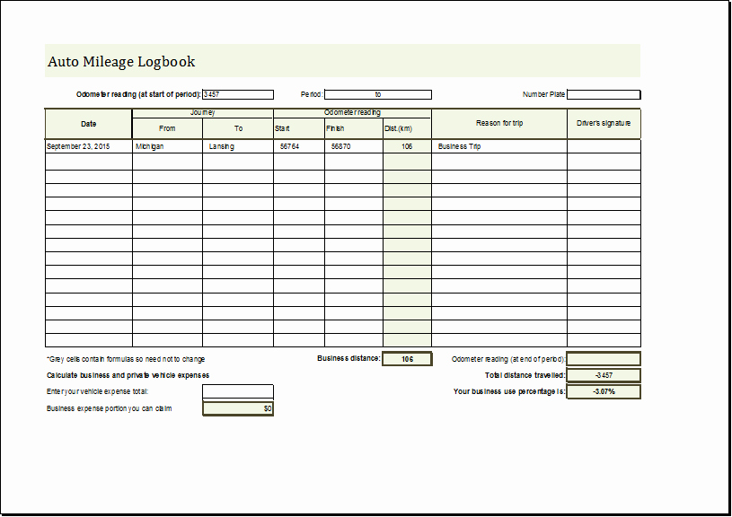 Drivers Log Book Template Awesome Mileage Log Book Template