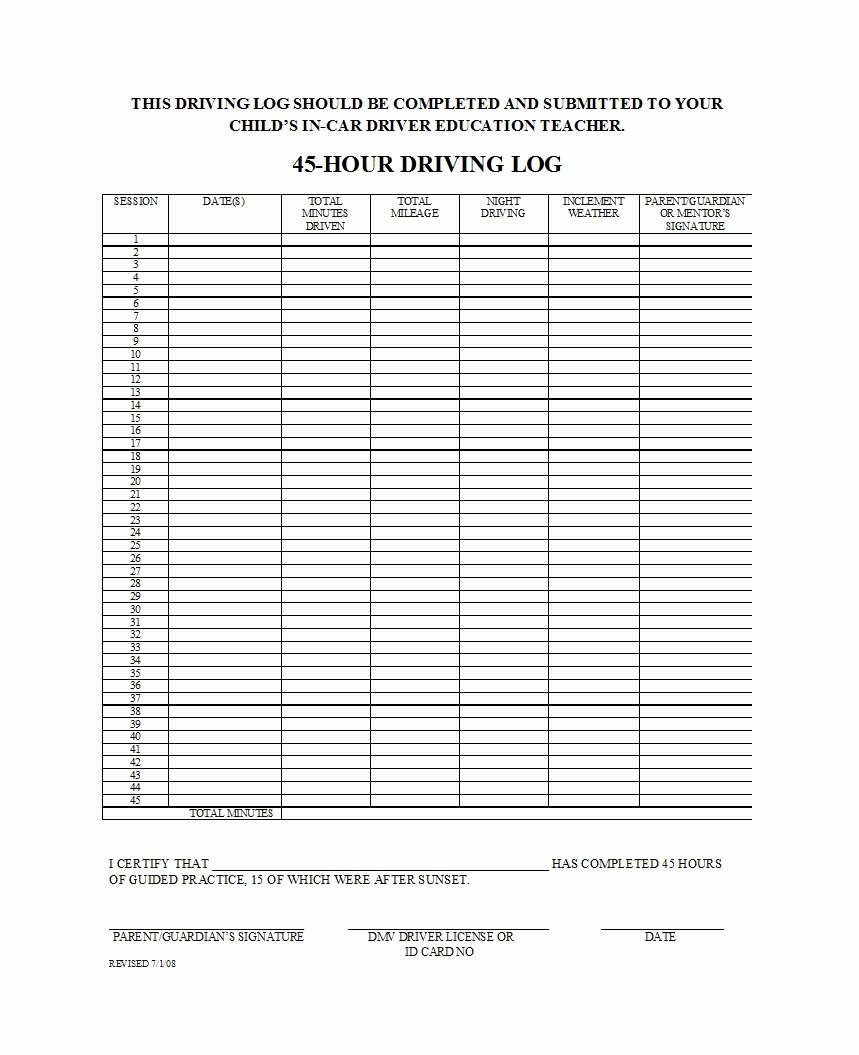 Drivers Log Book Template Fresh 50 Printable Driver S Daily Log Books [templates & Examples]