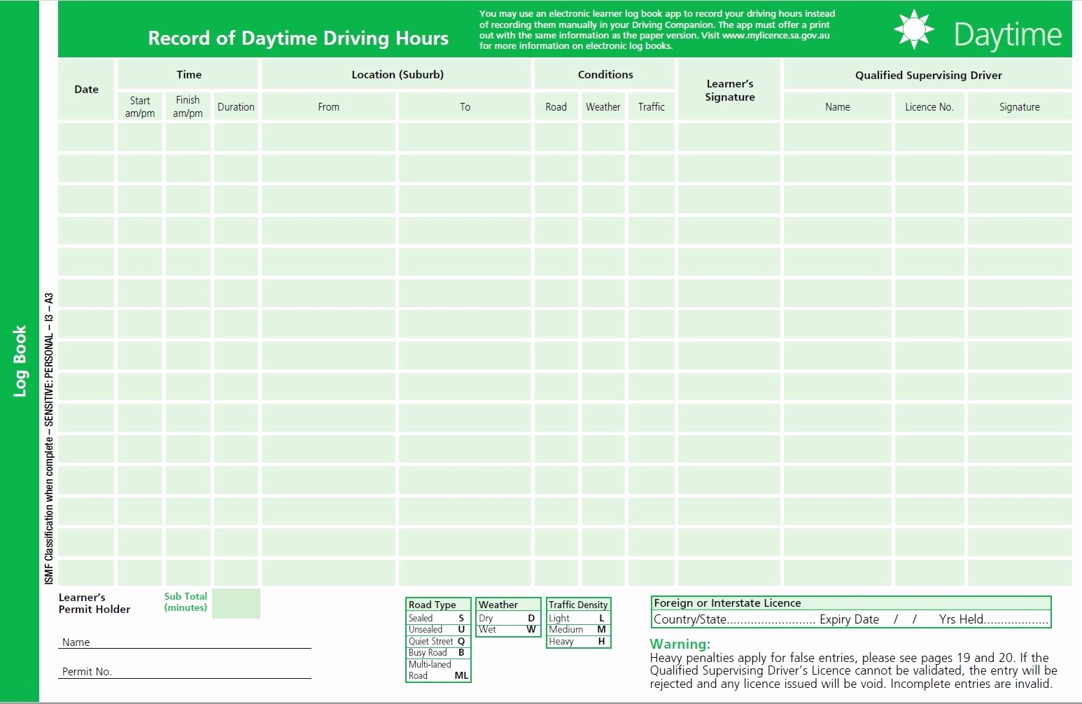 Drivers Log Book Template Inspirational My Licence the Driving Panion Daytime forms
