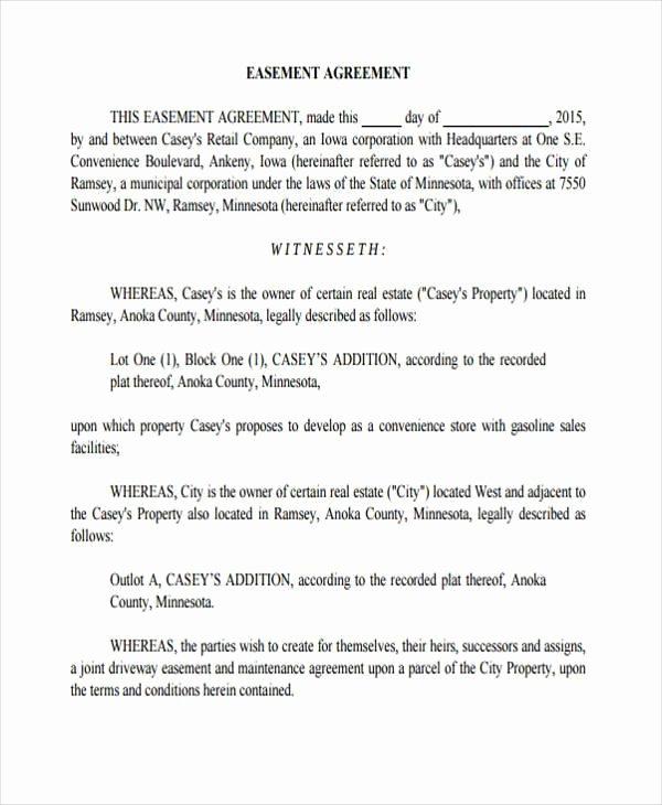 Driveway Easement Agreement Best Of Sample Driveway Easement Agreement forms 7 Free