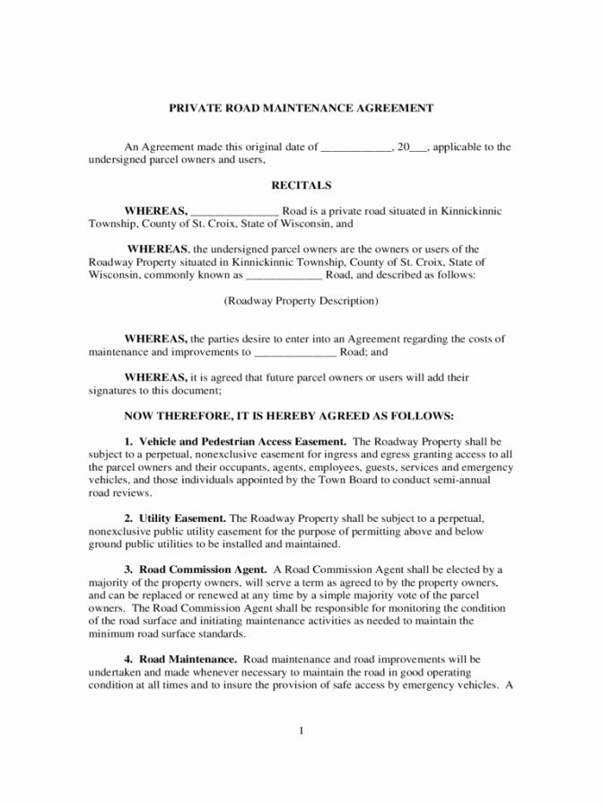 Driveway Easement Agreement Inspirational Driveway Easement Maintenance Agreement Word Template