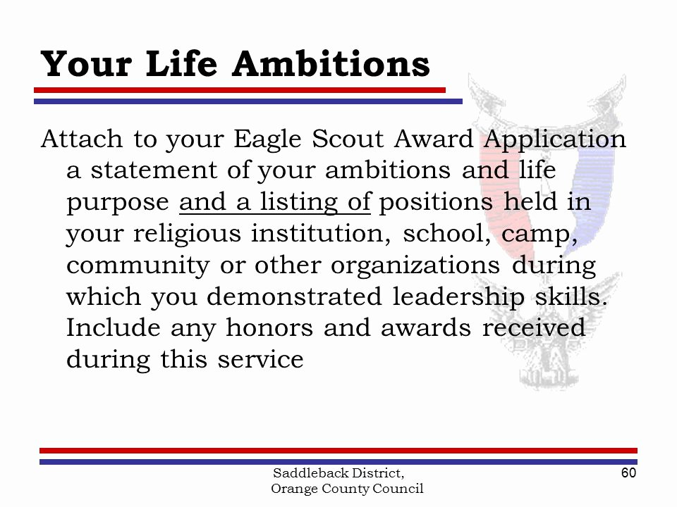 Eagle Letter Of Ambition Example Best Of Saddleback District orange County Council Boy Scouts Of