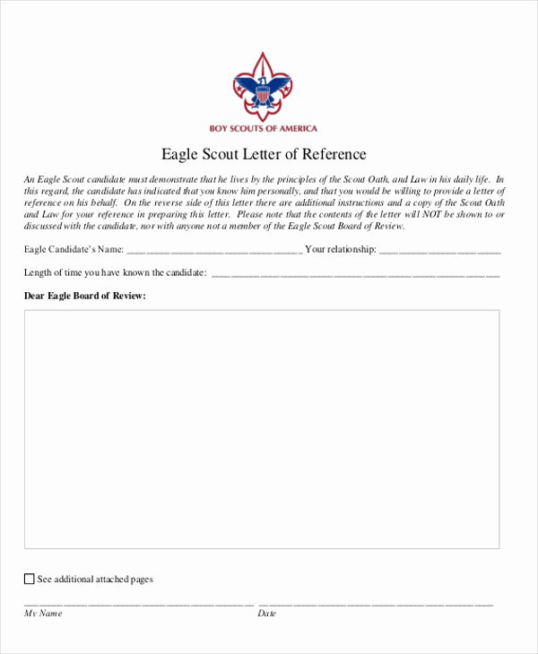 Eagle Letter Of Recommendation form Awesome 9 Sample Eagle Scout Re Mendation Letter Templates