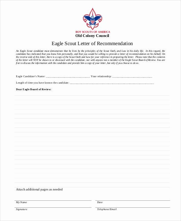 Eagle Letter Of Recommendation form Awesome Examples Of Re Mendation Letter