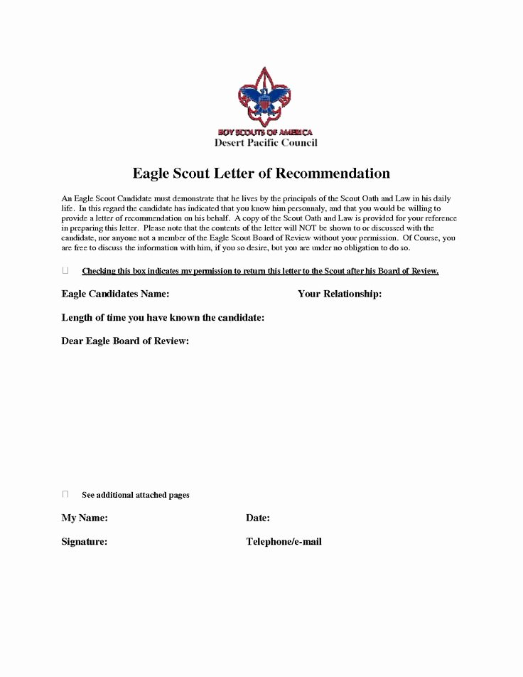 Eagle Letter Of Recommendation form Elegant Eagle Scout Re Mendation Letter Sample