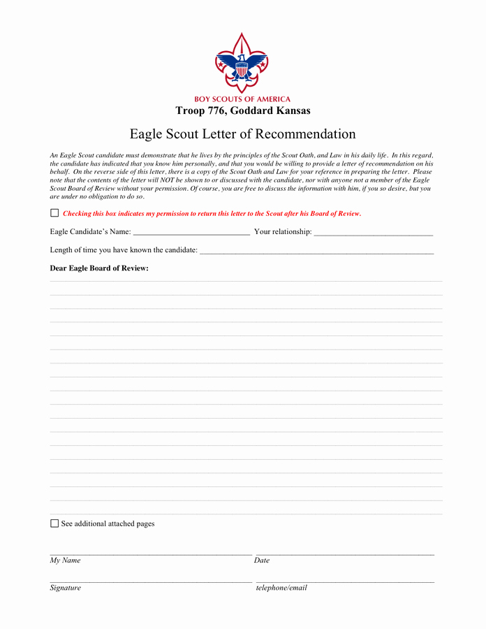 Eagle Letter Of Recommendation form Elegant Eagle Scout Reference Letter Template In Word and Pdf