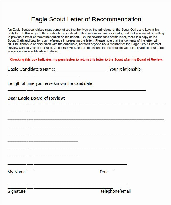 Eagle Letter Of Recommendation form Inspirational 10 Eagle Scout Letter Of Re Mendation to Download for