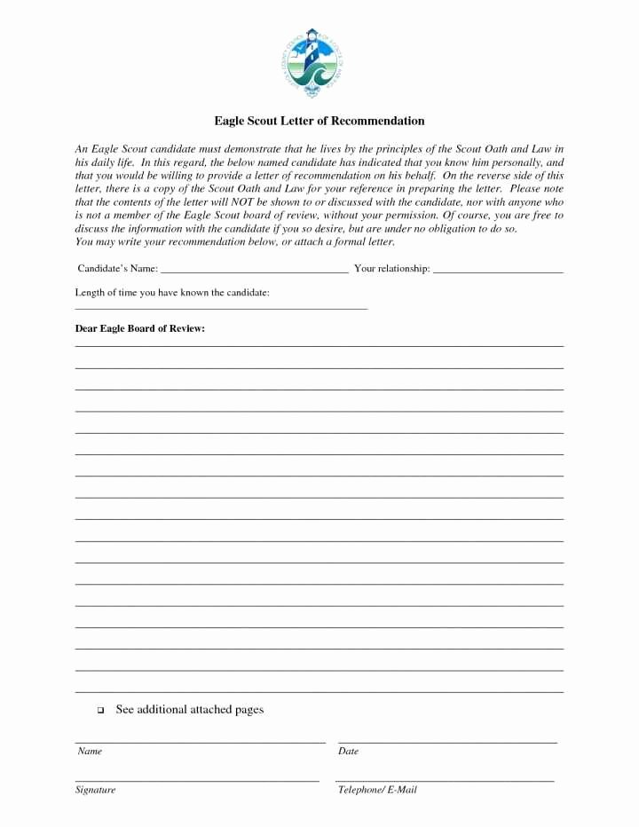 Eagle Letter Of Recommendation form Luxury Eagle Scout Letter Re Mendation Sample From Parents