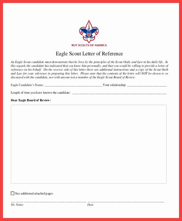 Eagle Letter Of Recommendation form Unique Eagle Scout Re Mendation
