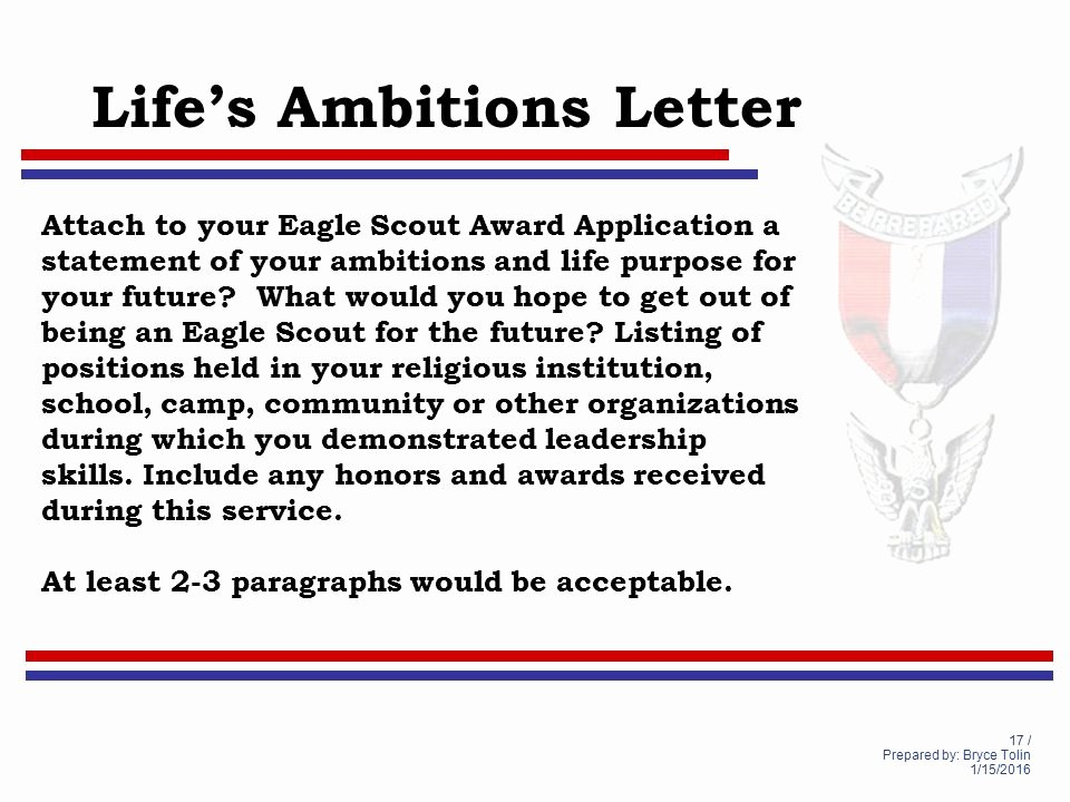 Eagle Scout Letter Of Ambition Example New Life to Eagle Seminar Lighthouse District south Florida