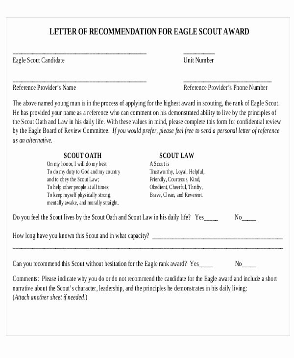 Eagle Scout Letter Of Recommendation Best Of 9 Sample Eagle Scout Re Mendation Letter Templates