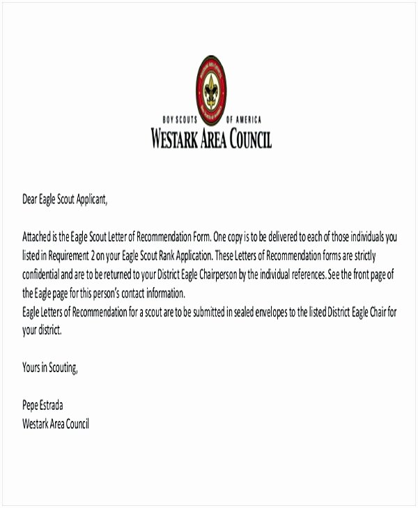 Eagle Scout Letter Of Recommendation Elegant Eagle Scout Letter Of Re Mendation Sample From Parents