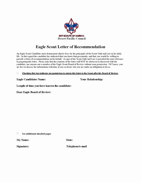 Eagle Scout Letter Of Recommendation Fresh Eagle Scout Re Mendation Letter Sample