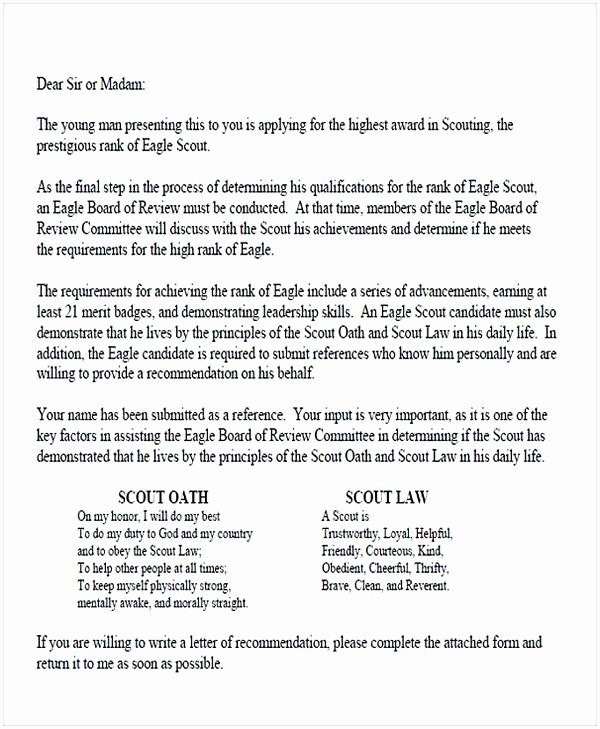 Eagle Scout Letter Of Recommendation New Eagle Scout Letter Re Mendation