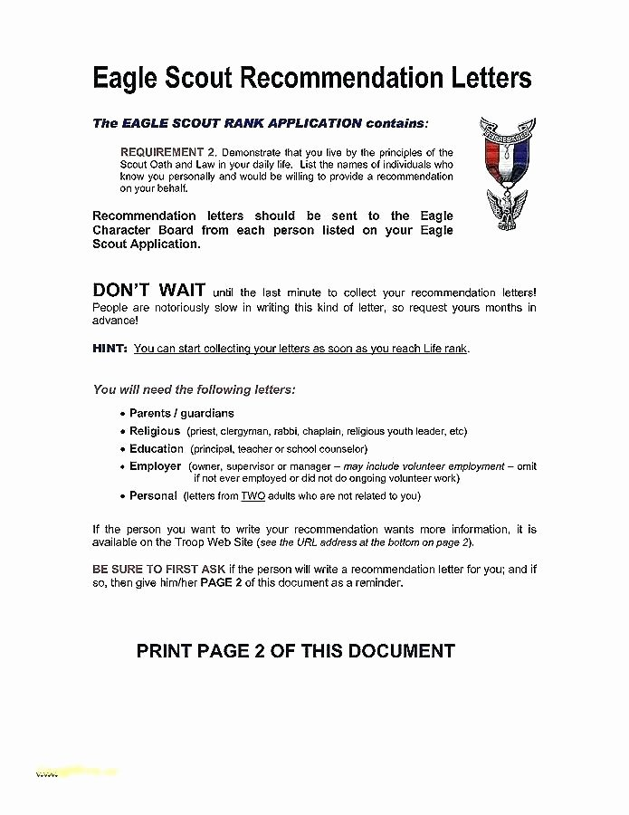 Eagle Scout Recommendation Letter Sample Best Of Letter Re Mendation for Eagle Scout From Parent