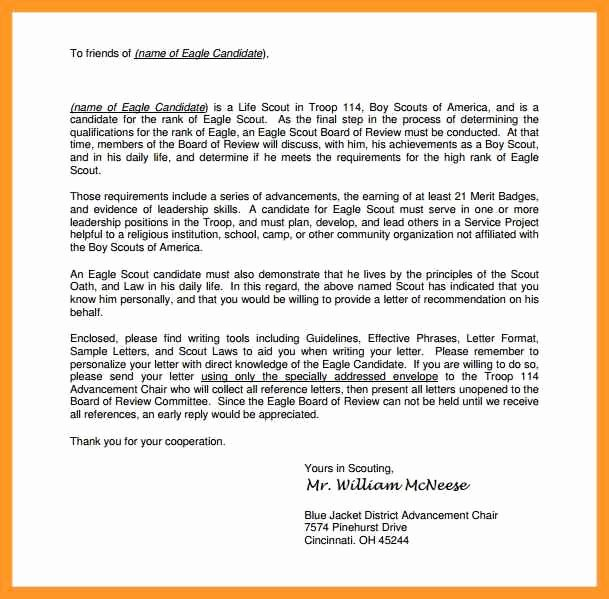 Eagle Scout Recommendation Letter Sample Luxury Eagle Scout Reference Letter Sample