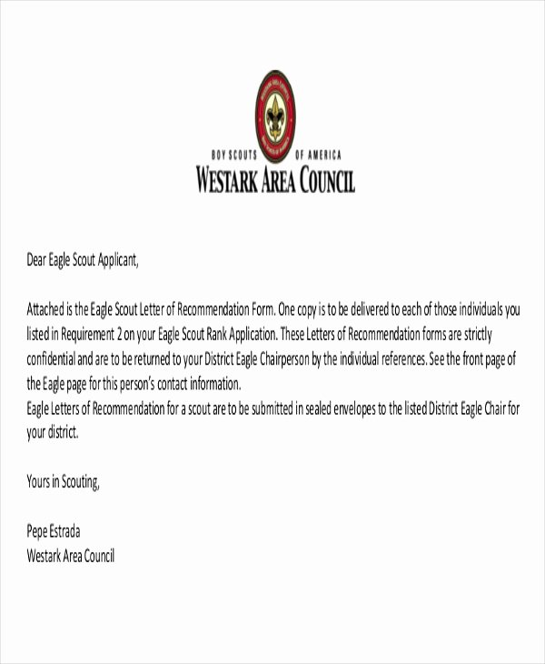 Eagle Scout Recommendation Letter Sample New 9 Sample Eagle Scout Re Mendation Letter Templates