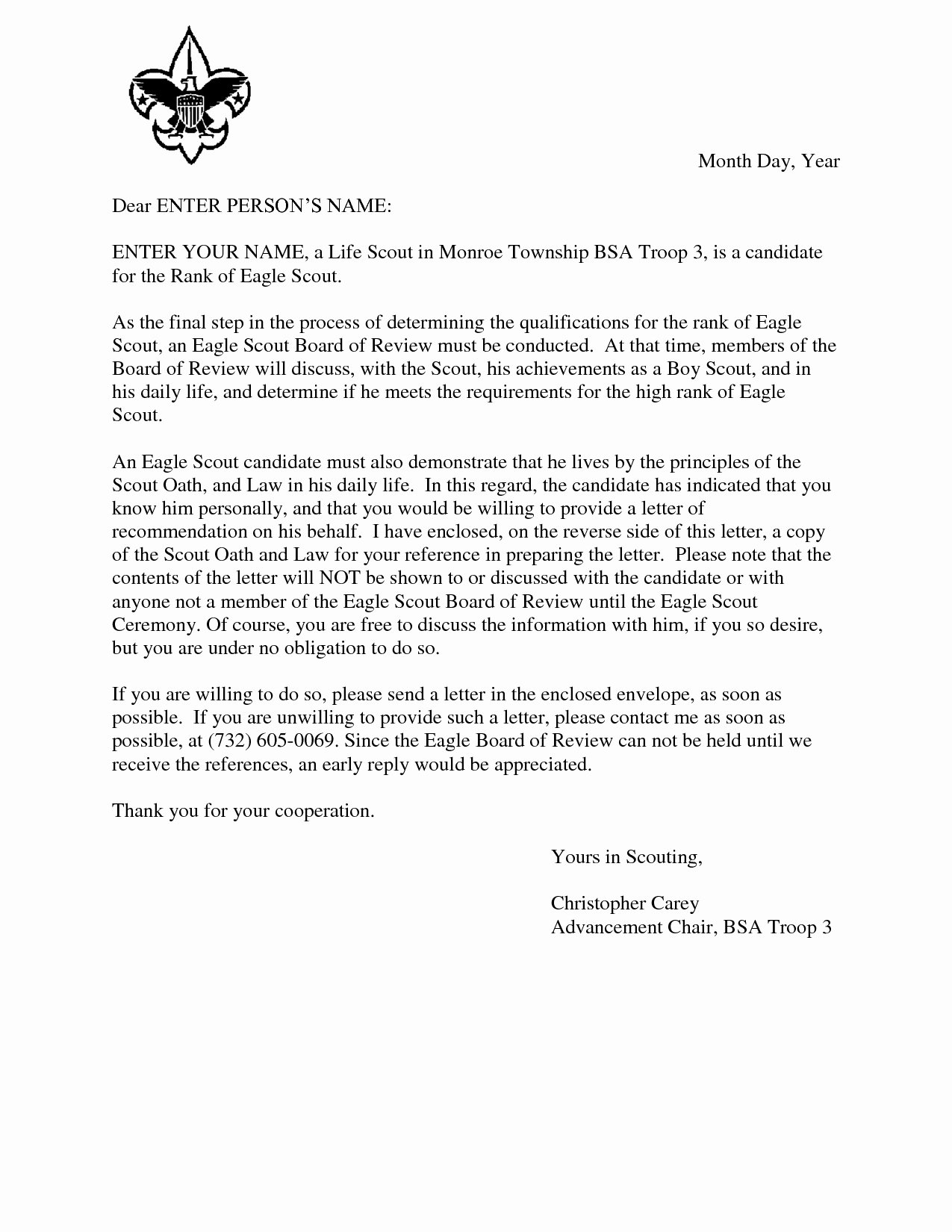 Eagle Scout Recommendation Letter Template Awesome Free Printable Letter Re Mendation Template Examples