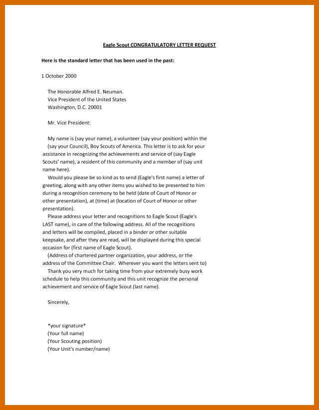 Eagle Scout Recommendation Letter Template Fresh 7 8 Re Mendation Letter Examples