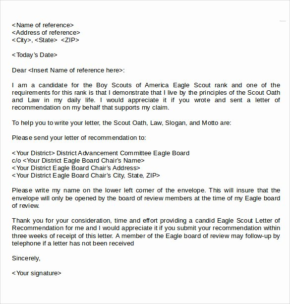Eagle Scout Recommendation Letter Template Fresh Eagle Scout Letter Of Re Mendation 9 Download