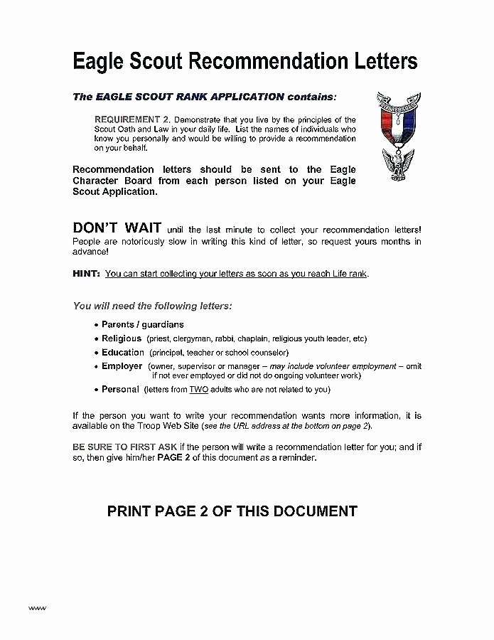 Eagle Scout Recommendation Letter Template Fresh Student Reference Letter From Parent Character for Seeking