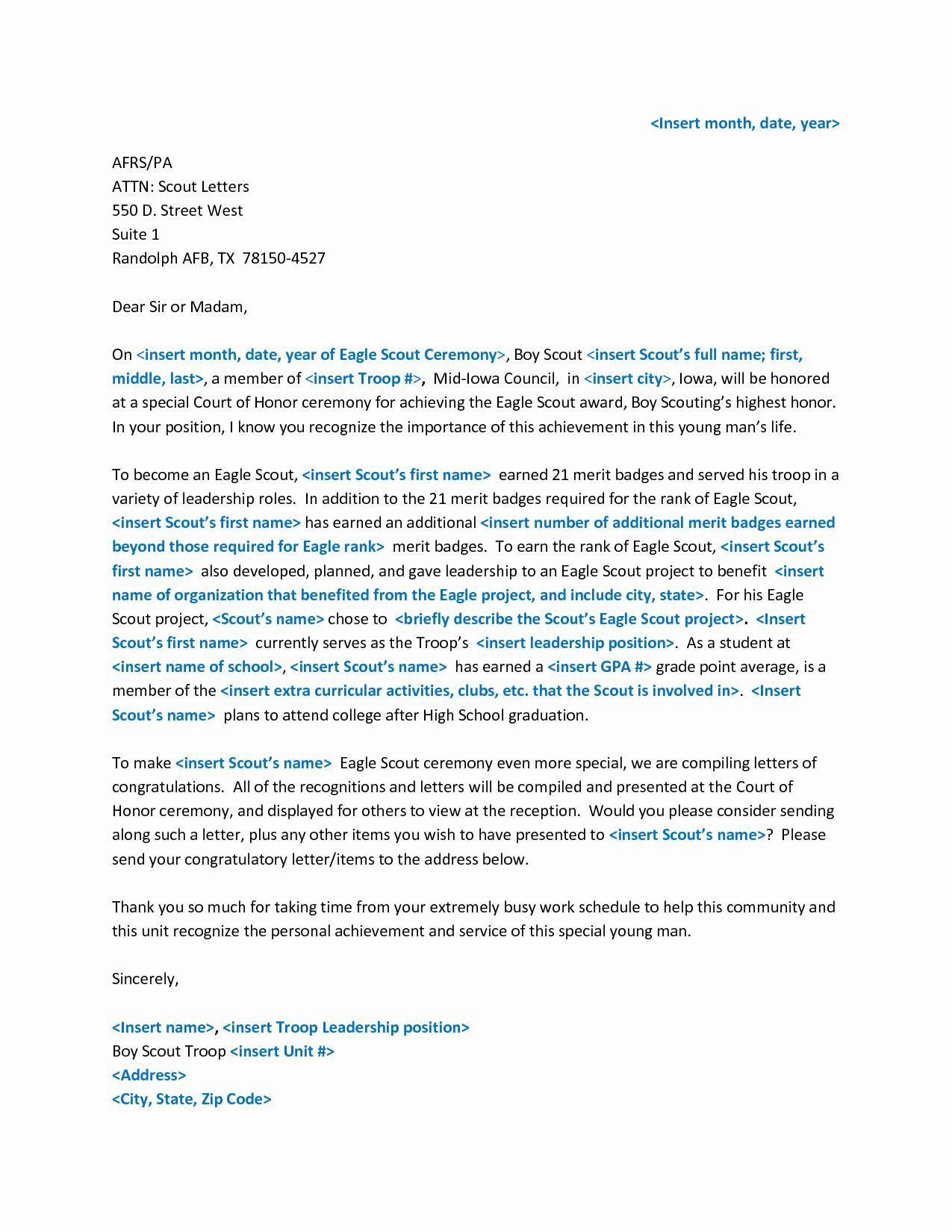 Eagle Scout Recommendation Letter Template Luxury Eagle Scout Letter Of Re Mendation Yahoo Image