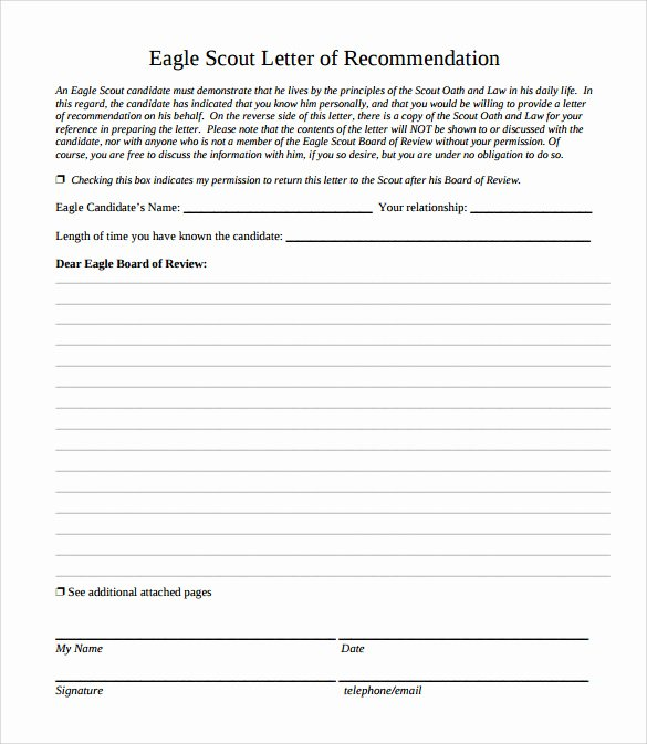 Eagle Scout Recommendation Letter Template New Eagle Scout Letter Of Re Mendation 9 Download