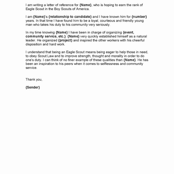 Eagle Scout Recommendation Letter Template New Eagle Scout Letter Re Mendation Sample From Parents