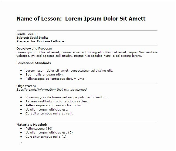Easy Lesson Plan Template Beautiful 10 Sample Lesson Plans