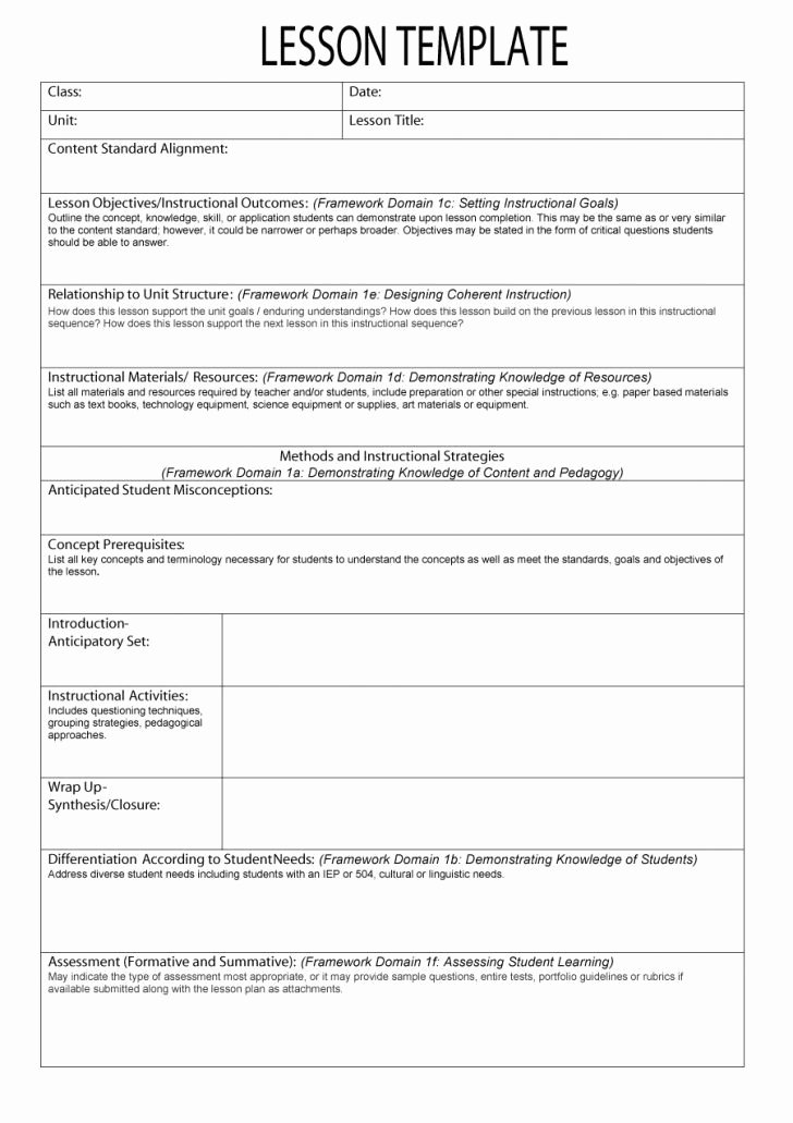 Easy Lesson Plan Template Best Of Mon Core Lesson Plan Template