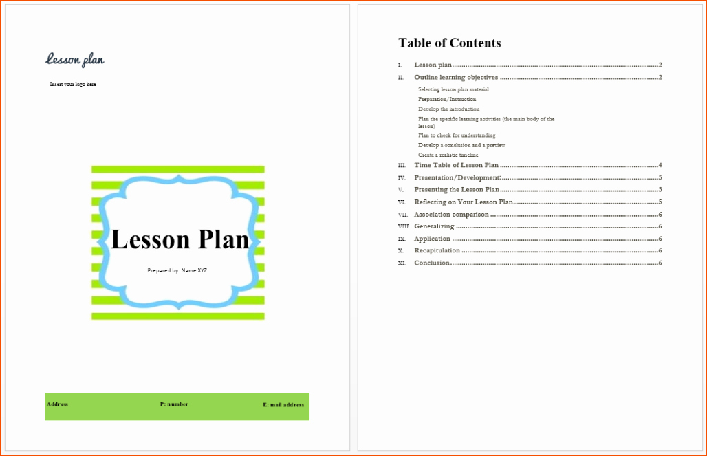 Easy Lesson Plan Template Unique 6 Simple Lesson Plan Template Bookletemplate