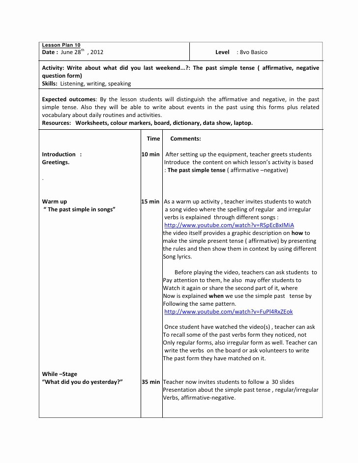 Easy Lesson Plan Template Unique Lesson Plan 10 Octavo Past Simple Tense