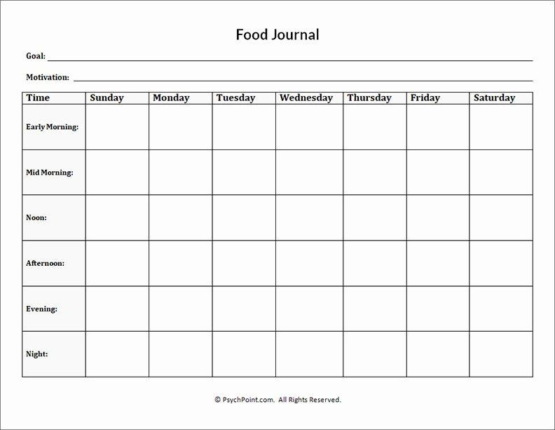 Eating Disorder Meal Plan Template Luxury Food Journal