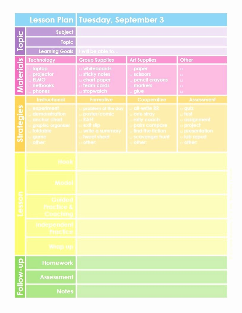 Editable Lesson Plan Template Elegant Free Colorful Lesson Planner Template