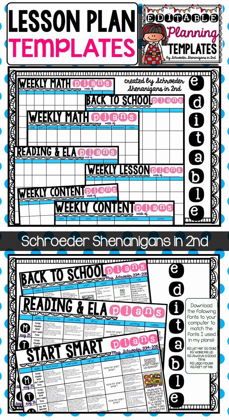 Editable Lesson Plan Template Elegant Pin by Schroeder Shenanigans In 2nd On My Tpt Creations
