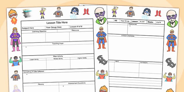 Editable Lesson Plan Template Luxury Superhero themed Editable Individual Lesson Plan Template