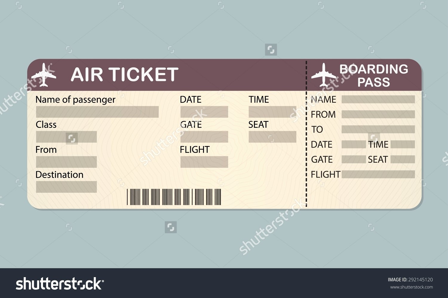 Editable Ticket Template Free Word Luxury Plane Ticket Template Beepmunk