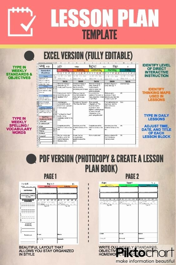 Editable Weekly Lesson Plan Template Fresh Pinterest • the World's Catalog Of Ideas